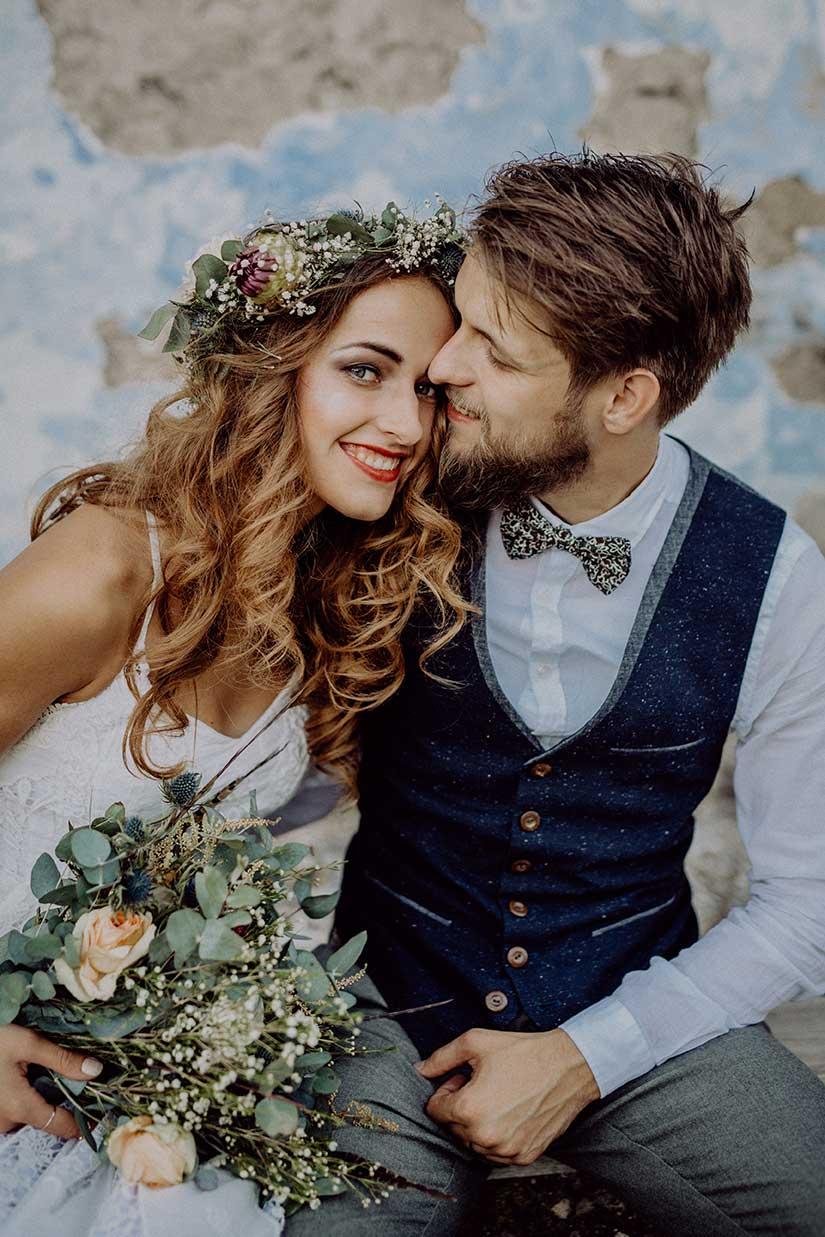 bride and groom at wedding venue